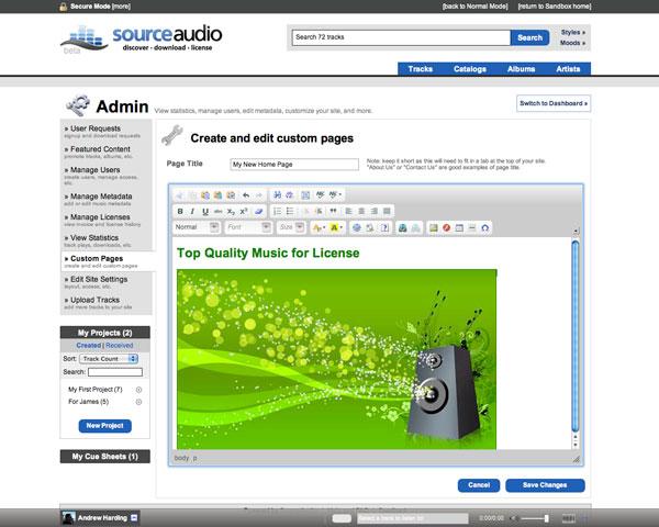 SourceAudio WYSIWYG Editor