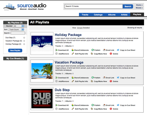 SourceAudio published playlists