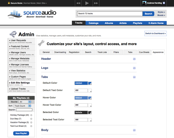 SourceAudio's new appearance editor tool