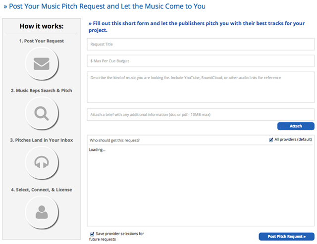 The New Pitch Request Form On All SourceAudio Buyer Sites