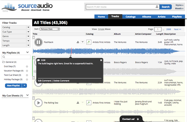 Comments also appear in the waveform view of track list pages.