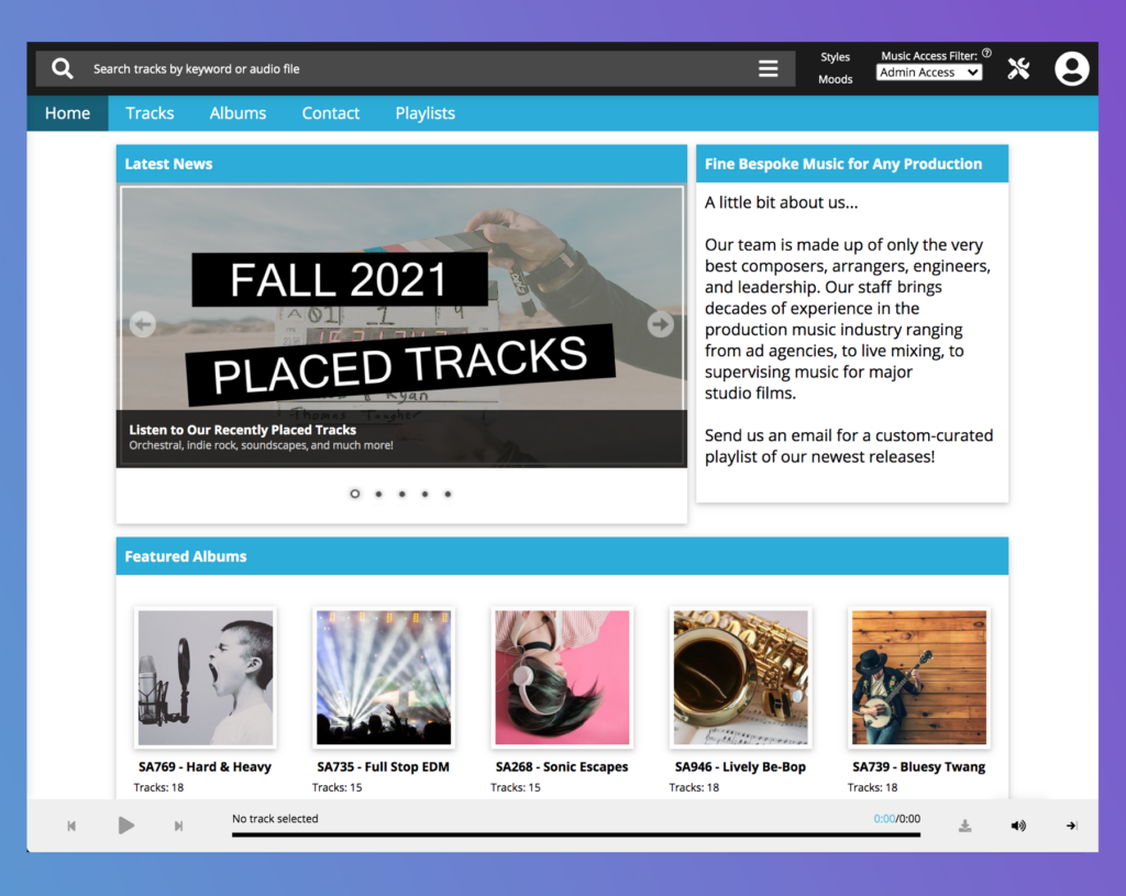 The SourceAudio homepage builder makes it easy for site admins to create a beautiful, high-functioning landing page for their SourceAudio library site.